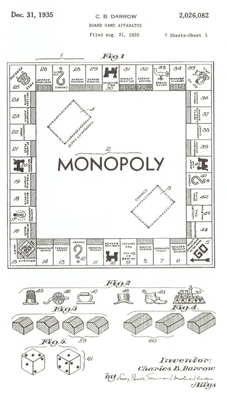 [ Fair Use of CB Darrow's MONOPOLY drawing filing used on a postcard sold  by National Inventors Hall Of Fame ] The USPTO United States Patent And  Trademark ...